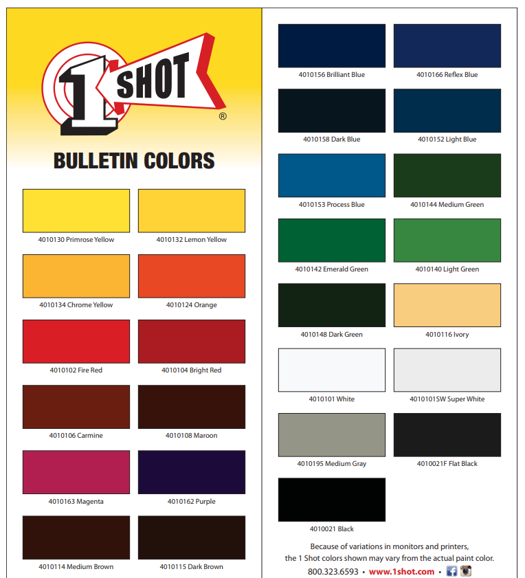 1 shot bulletin color card 2 - 1 SHOT BULLETIN COLORS