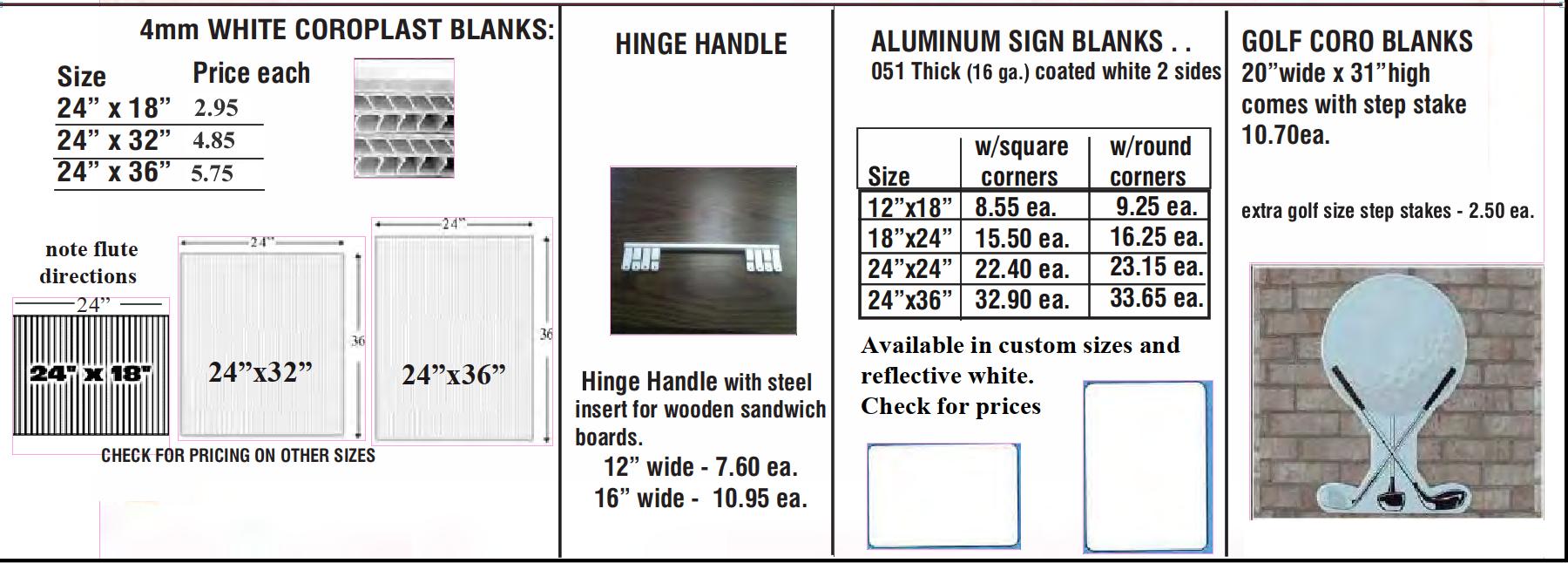 "Sign Blanks hinge hdle. step stakes Apr. 21 - Sign Blanks -  ""Coroplast"" -  Hinge Handle  - Aluminum Blanks"