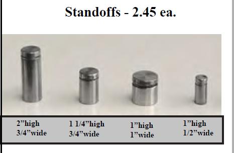 Standoffs 4 - A Board - Crane Holder - Step Stakes -   Spinner - Standoffs