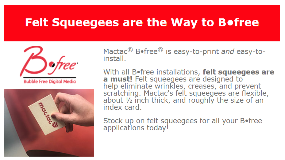 mactac felt squeegee - Squeegees for Vinyl Application