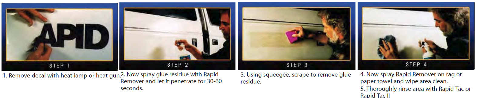 rapid remover directions - Rapid Tac Products - Application Fluid - Remover