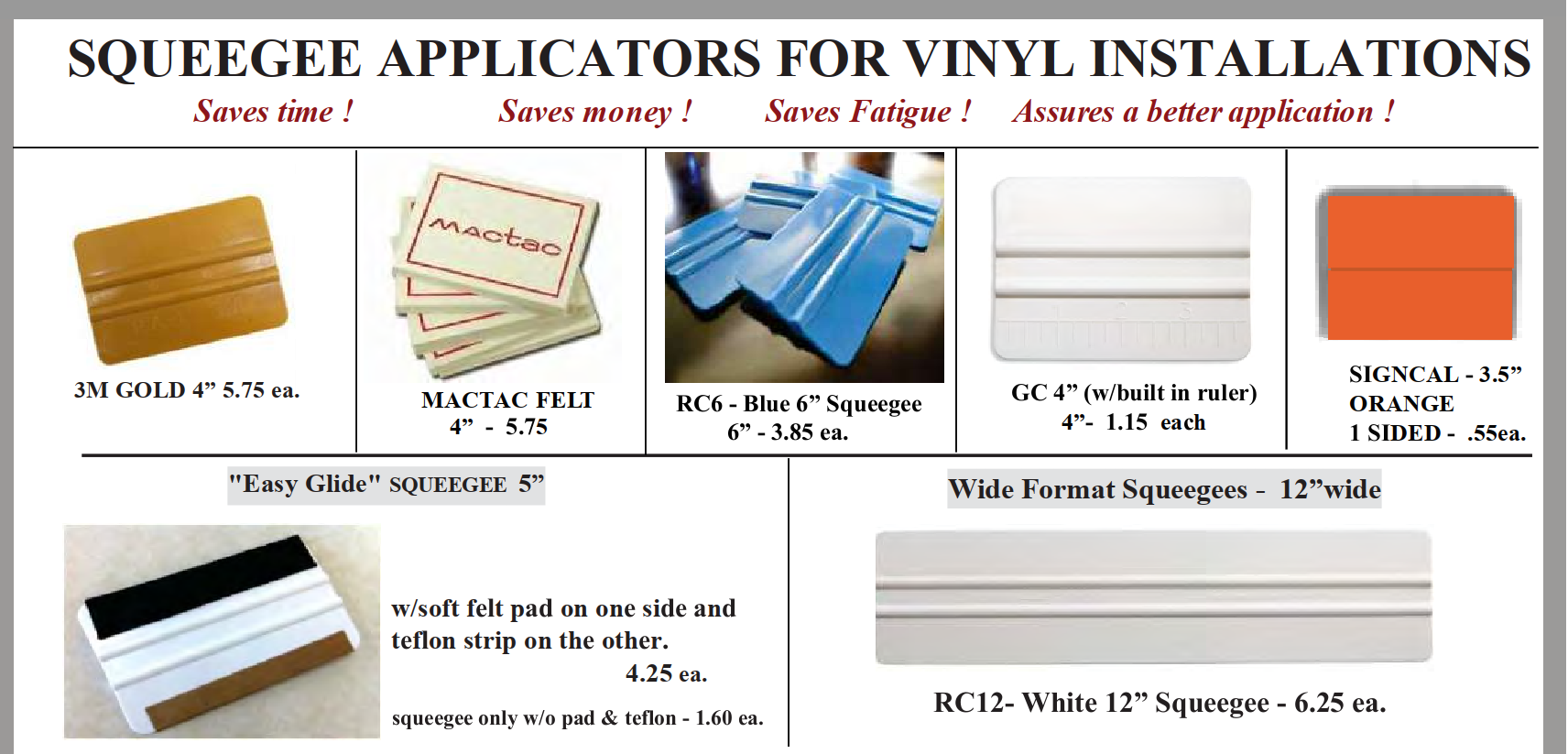 squeegee applicator page 1 - Squeegees for Vinyl Application