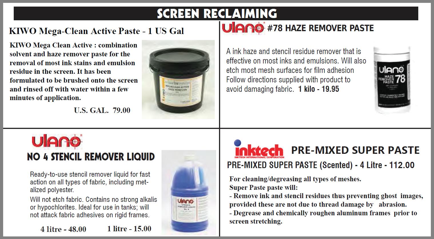 Emulsion remover 1 - Screen Emulsion and Stencil Removers