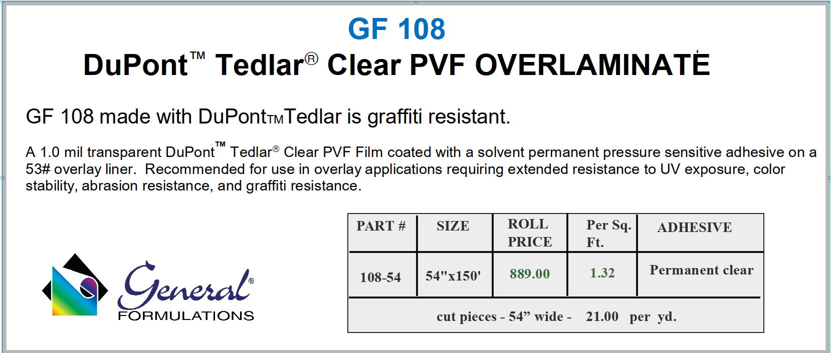 GF 108 Tedlar - Anti-Graffiti Film & Paint