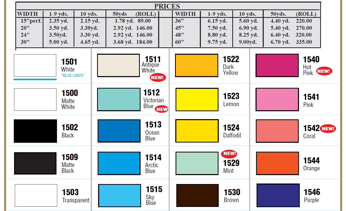 1500 series 1 - Gloss 3 mil intermediate perm. vinyl - 5 yr. exterior