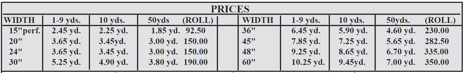 cc500 prices - Gloss 3 mil intermediate perm. vinyl - 5 yr. exterior