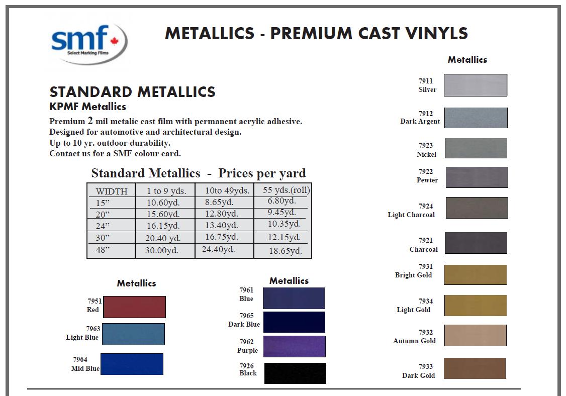 page 2A - 2 mil cast vinyl - metallic colours