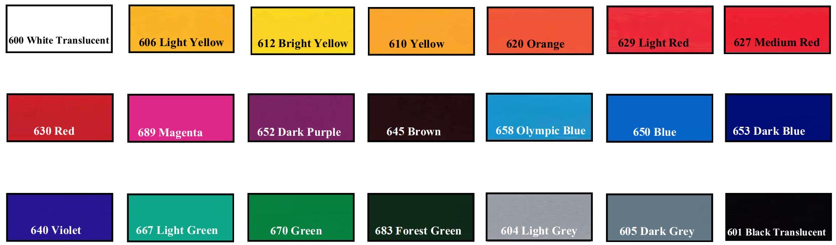 translucent viny colors - SMF Translucent Backlit Film